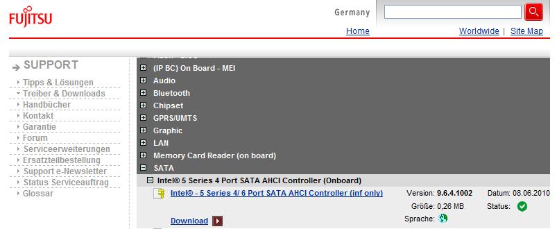 Der Intel SATA Controller auf dem main board hat den Namen Intel(R) 5 Serie